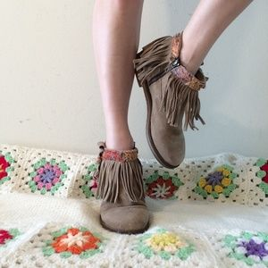 Fringed Leather Zip Up Ankle Boots